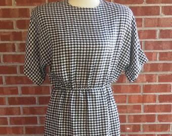 Vintage 80s houndstooth dress size 8