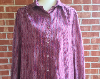 Vintage 70s Pins and Needles maroon, gray, orange, and blue pattern button down top