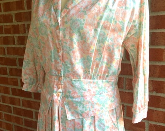 New with tag - Vintage 70s/80s Marchionda of California floral pastel dress. Size 14