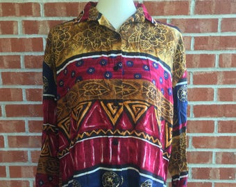 Vintage 80s/90s Caliche Collection Red, Blue, and Gold Patterned Button Down. Size S