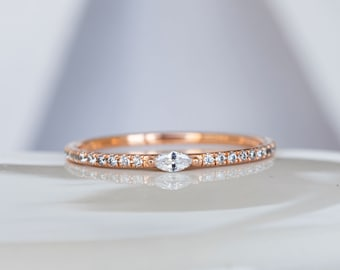 Unique diamond 14K solid gold band/ Micro pave ring with Marquise diamonds / Statement dainty stacking ring