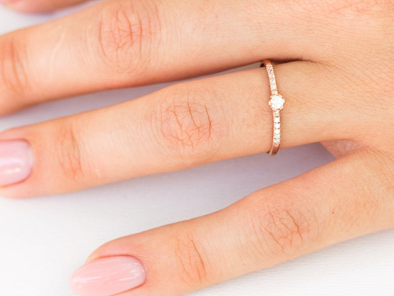 14K Rose Gold Diamond Engagement set ring Moissanite Marquise Diamond Unique Curved ring Bridal Sets Matching Stacking Anniversary gift