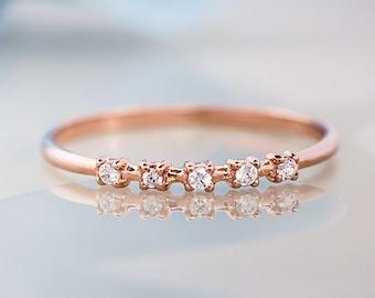 14k Solid Gold Diamond stacking Ring, Thin Diamond layering Ring, Dainty Stack Ring, Half Eternity Wedding Band, 14k Solid Gold Ring