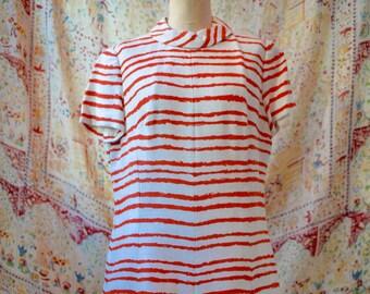 1950s Vintage Orange and White Striped Dress, A Leslie Fay Original