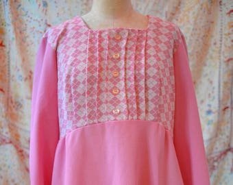 1960s Vintage Pink Checkered Dress