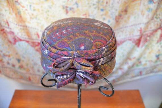 1960s Vintage Paisley Pillbox Hat