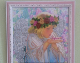 """Beads /Pattern with beads/Embroidery with beads /Pink petals/Picture with beads """"Petals"""""""