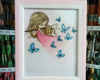 """Embroidered picture / embroidery / Girls / Butterflies / Pink palette / Embroidered picture """"Melody of Flute"""""""