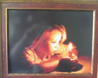"""embroidery, cross-stitch, painting, children, girls, birth, pink dream, candle, prayer, Picture """"Girl with a candle"""""""