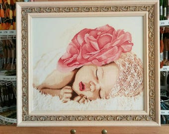 """embroidery, cross-stitch, painting, children, girls, birth, pink dream, Embroidered painting """"Pink dreams"""""""