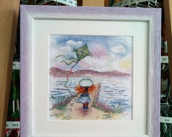 """Embroidery / Sea theme/ Children's embroidery / Girls / Purple tenderness / Embroidered picture """"On the road to a dream"""""""