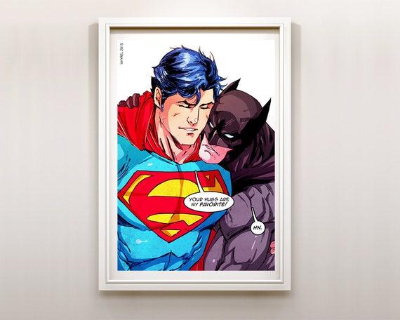 Superman /& Batman Oreo Art Print Poster Super Hero Digital Art DC Comics