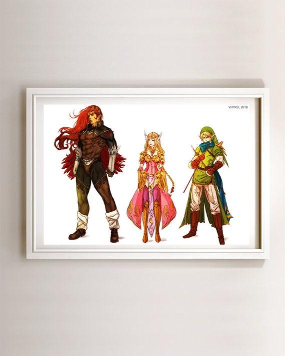 The Legend of Zelda Ganondorf Princess Zelda Link Concept | Etsy