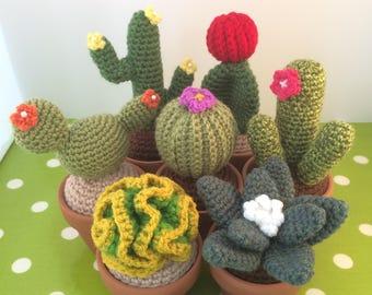 Crochet cactus - handmade succulent in terracotta pot
