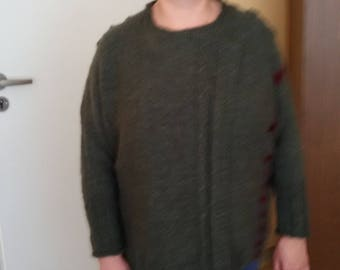 jacket knitted from  wool yarn and  mocher