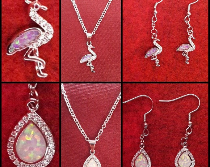 Flamingo Necklace and Earrings and Iris Drop