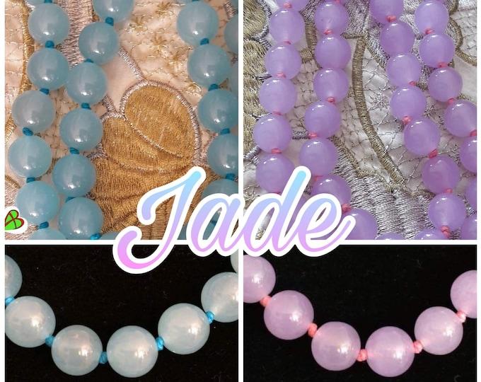 Jade Amethyst and Aquamarine Necklace - Jade Necklace