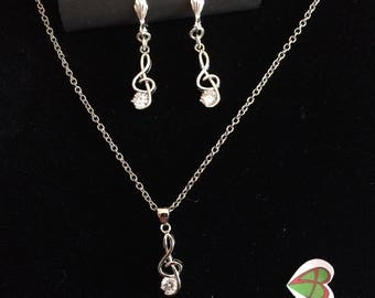 Music Note necklace & earrings