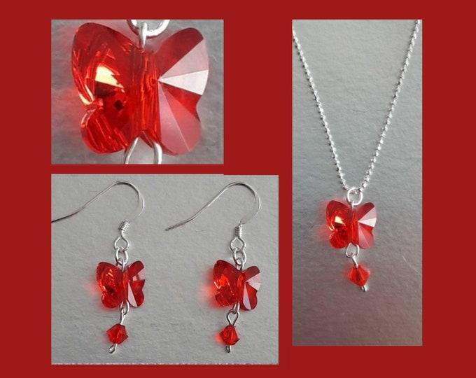 Swarovski Red Butterfly Jewelry - Swarovski Jewels