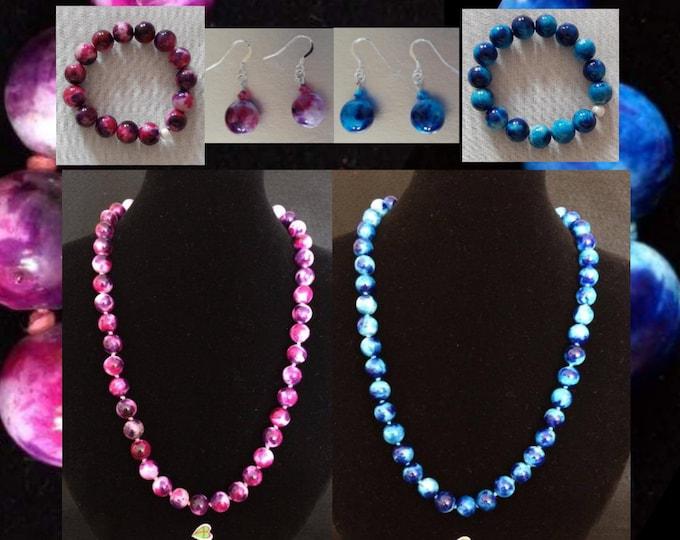Blue Jade and Fuchsia Jewelry - Parure