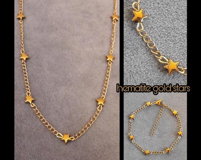 Hematite Gold Stars Jewelry - Hematite Jewels