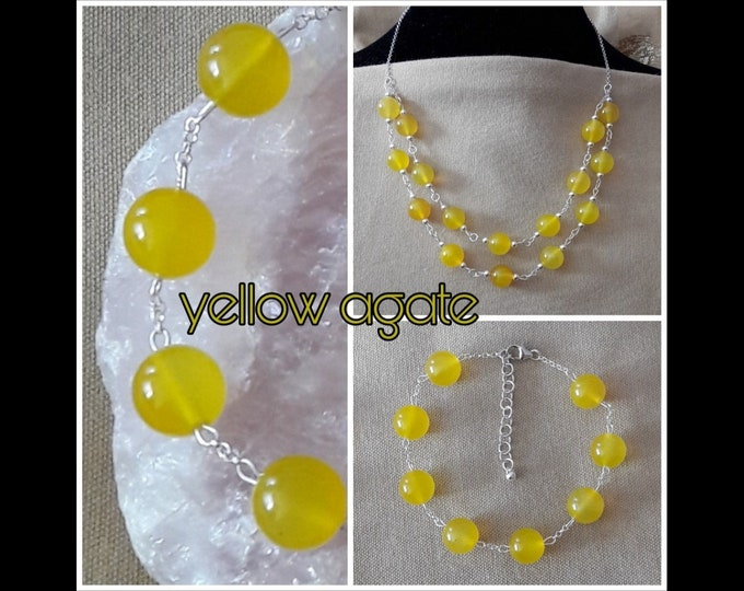 Yellow Agate Necklace and Bracelet (parure)