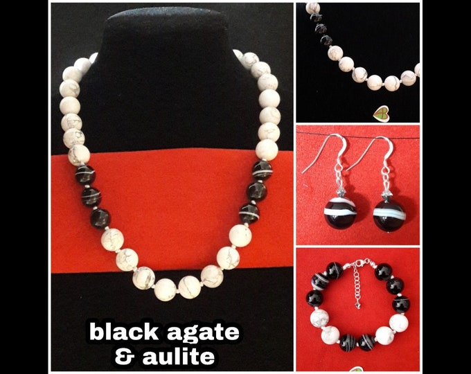 Aulite and Black Agate Jewelry/ black agate & aulite jewels