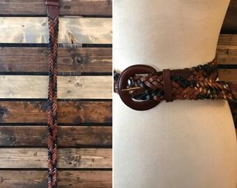 70's leather fishtail braid belt