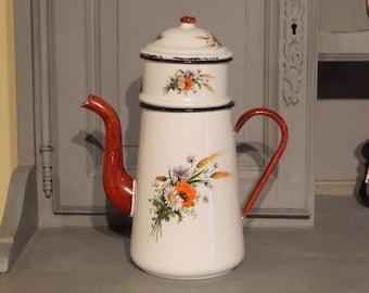French Enamelware, Vintage Enamelware, French Enamel, French Pitcher, enamelware, Vintage Pitcher, French Coffee Pot, Enamel Coffee Pot,