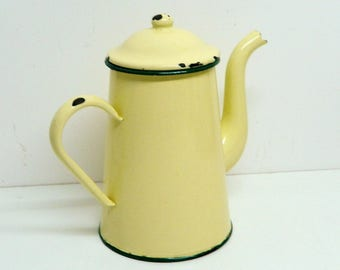French pitcher, French country, Antique French, country home decor, country decor, enamelware, vintage, kitchenalia, coffee pot, enamel jug,