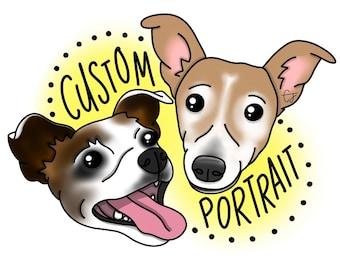 Custom Pet Portrait // Digital pet painting personalised