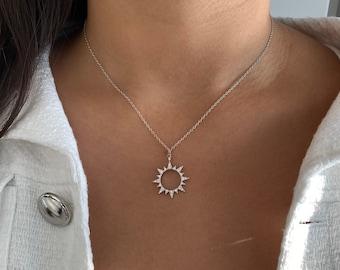 sun necklace silver