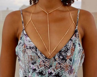 da1d3e18da Layered Gold Chain Bralette   Gold Body Chain   Gold Chain Bra  Body  Harness   Body Jewelry   Gold Bra Chain   Bra Cage
