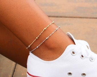 Satellite Chain Anklet / Dainty Gold Anklet / Silver Anklet / Gift For Her / Birthday Idea / Gold Silver Bead Anklet / Gold Chain Anklet