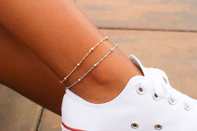 Satellite Chain Anklet / Dainty Gold Anklet / Silver Anklet / image 0