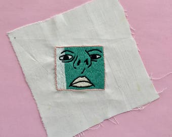 Hand-Embroidered Green Self Portrait
