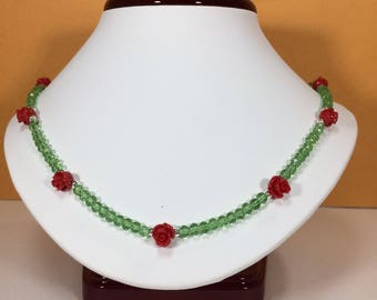 SALE 30% , Coral and Peridot Necklace , Coral  necklace, Peridot Necklace, Coral Gemstone Necklace, Peridot Gemstone ,   Birthstone