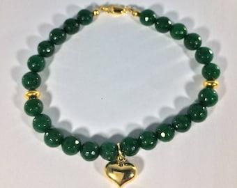 SALE 30% Emerald Bracelet with heart charm , Gemstone Bracelet   , gemstone Bracelet , Birthstone Bracelet ,   Birthstone bracelet