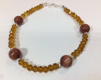 SALE 30% Goldstone and Citrine Bracelet, Goldstone  Bracelet, Citrine Bracelet, gemstone Bracelet, Birthstone Bracelet,   Birthstone