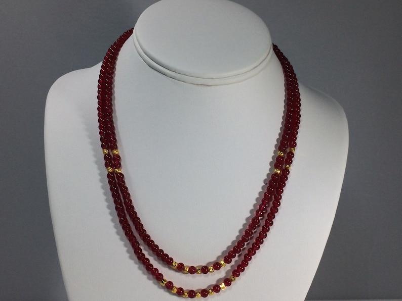 Birthstone Necklace Ruby Necklace BESTSELLER SALE 30/% Ruby Necklace Natural Ruby Necklace Two strand Genuine Ruby Gemstone Necklace