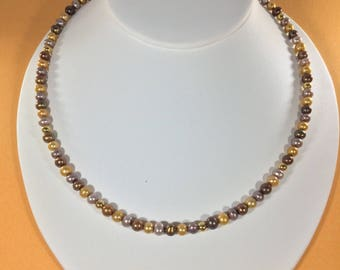 Fathers  Day Bestseller SALE 30% ,  Chocolate Gold,Silver Pearls Gemstone Necklace  , gemstone Necklace ,