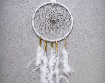 """10"""" White Feathered DreamCatcher, Feather Dreamcatcher, Boho Dreamcatcher, Boho Decor"""