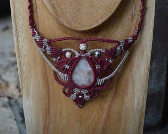 Ariadne necklace - Necklace Macrame - genuine Sun stone