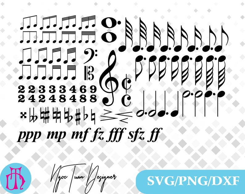 Music symbols Svg/Music symbols Svg,dxf,png for  Print,Silhouette,Cricut,Design and any more