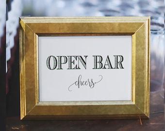 Printable Open Bar Sign|wedding Open Bar Sign|Drinks Table Sign|Open Bar Printable|Open Bar Sign Wedding|Wedding Sign|PDF|INSTANT DOWNLOAD