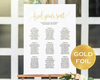 updated 11 sizes gold foil wedding seating chart templateseating chart printableseating boardeditable seating chart posterwedding sign