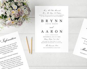 Printable Wedding Invitation Template | Editable Wedding Invitation Template Formal Script | Word  |PC |Pages | Mac |Editable Artwork Colors