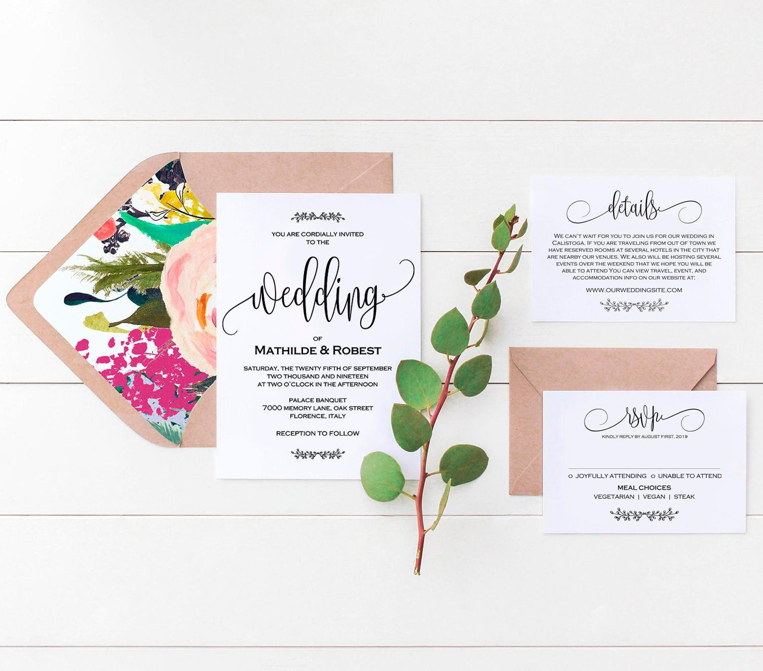 Printable Wedding Invitation Wedding Template Rustic Kraft