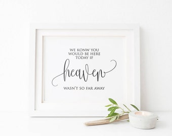 Printable wedding memorial sign|We know you would be here|wedding remembrance sign|in memory of|Printable wedding signs|Instant Download