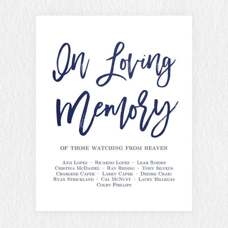 Printable Navy Blue In Loving Memory Sign Forever in our Hearts Sign Memory  Sign Memorial Table Sign In Memory Wedding Sign Instant Download